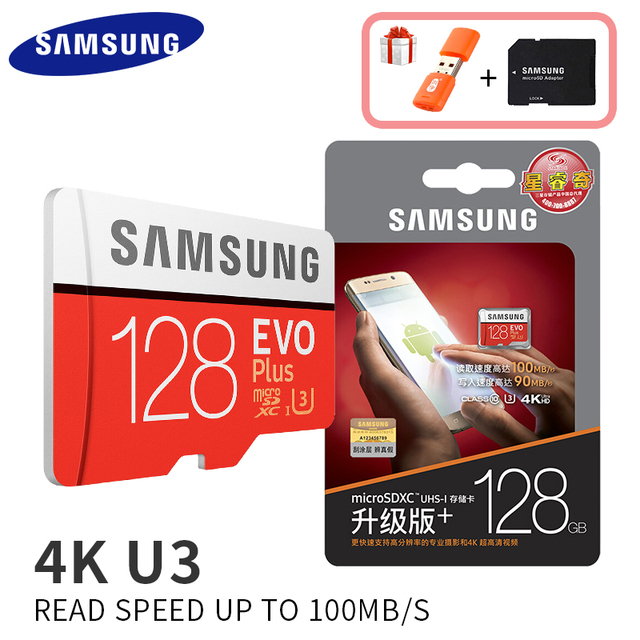 Карта памяти Samsung EVO объемом до 32 GB 95 МБ/с. SDHC карты памяти MicroSD 64 Гб 128 ГБ 256 4 K 100 МБ/с. SDXC класса 10 Micro SD C10 UHS TF модуль памяти Transflash карты
