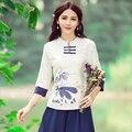 Этнические блузки 2017 женщины пуловер женский осень элегантный стенд воротник лотоса ручной работы лягушка верхней части рубашки Традиционный Китайский одежда