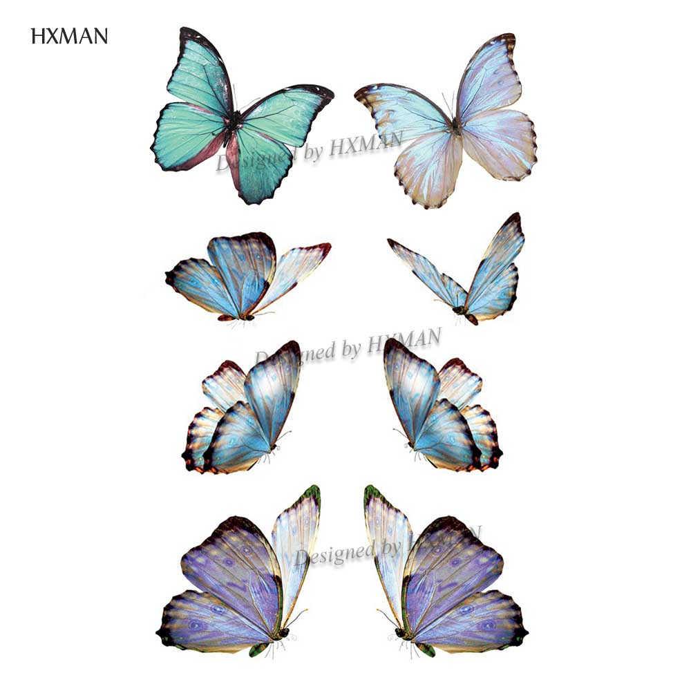 Hxman tatuagem temporária de borboleta, adesivo à prova d'água para homens e crianças, design quente de 9.8x6cm A-001