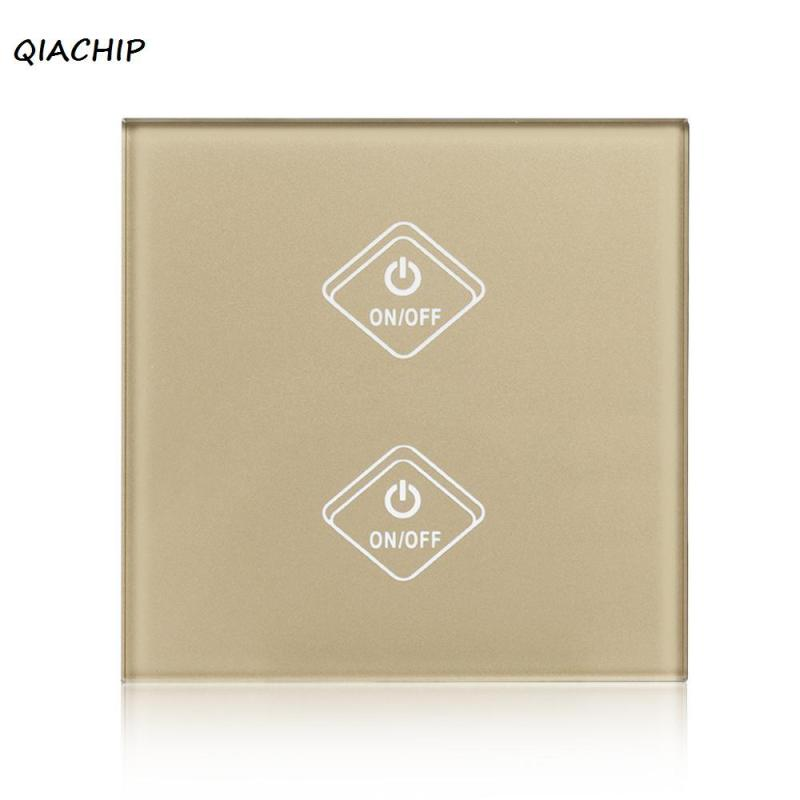 QIACHIP Wifi Smart Switch Smart Home UK Plug 2 Gang Touch Screen Panel Wireless Remote Wifi Light Switches Control via phone H3 3gang1way uk wall light switches ac110v 250v touch remote switch