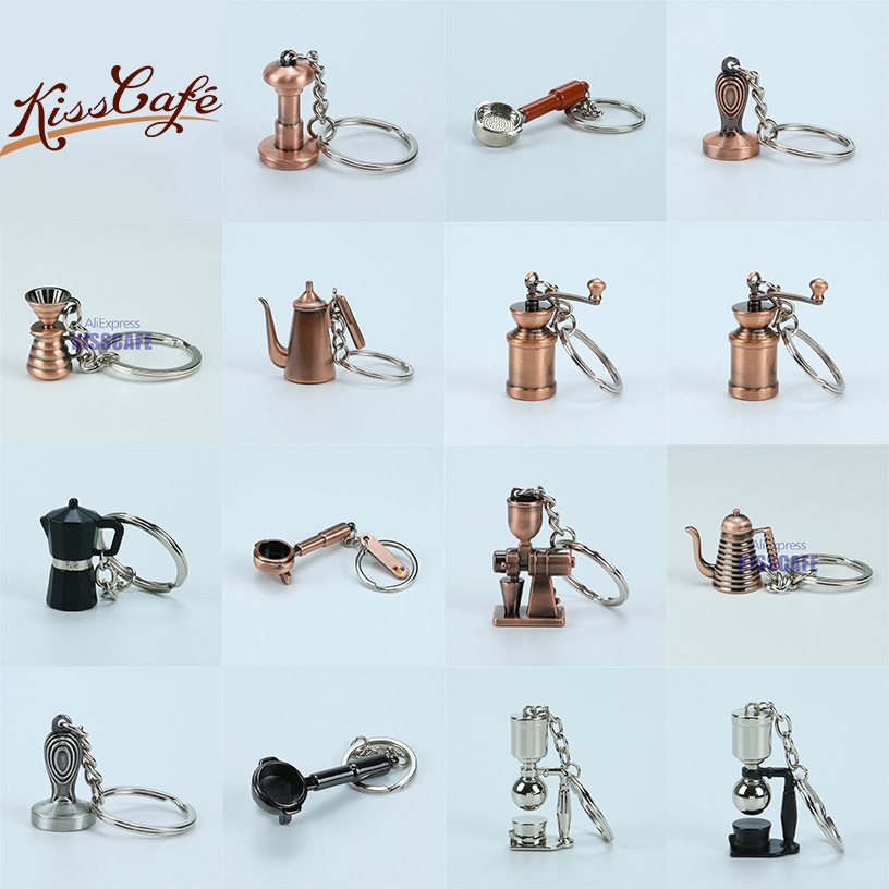 Creative Barista Coffee Tamper Keychain Coffee Machine Handle Moka Pitcher Keyring Portable Coffeeware Espresso Accessories Gift