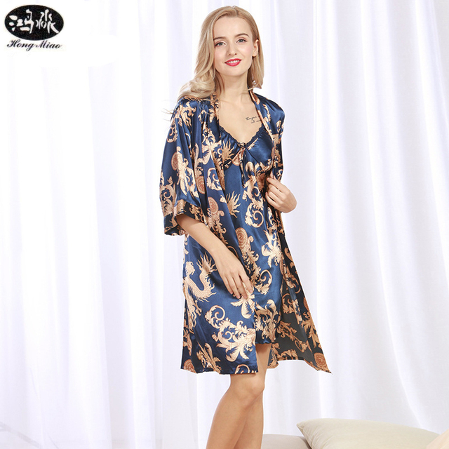 Summer Women Robes Lady Floral Printed Female Two pieces Silk Robe ...