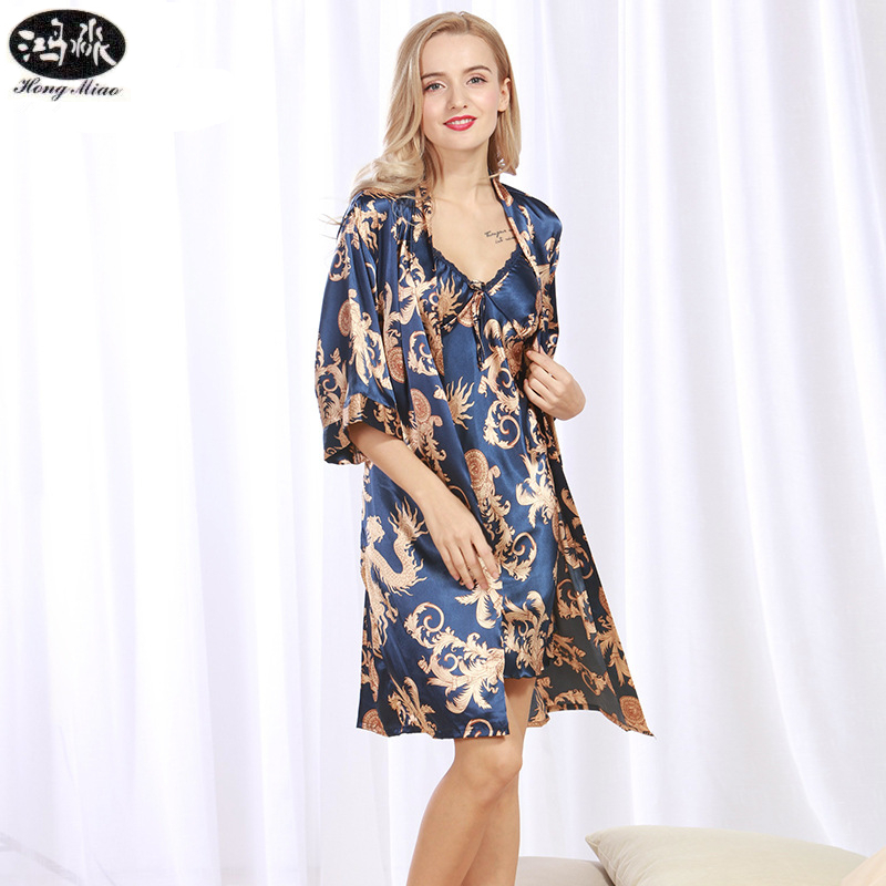 Summer Women Robes Lady Floral Printed Female Two-pieces Silk Robe Dressing Gowns Cardigan For Women Nightie Bathrobe Sexy Sets