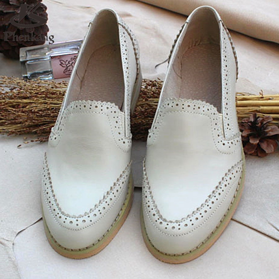ФОТО Genuine leather big woman US size 11 designer vintage shoes round toe handmade brown white beige oxford shoes for women with fur