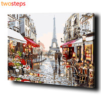 Paris Street DIY Digital Canvas Oil Painting By Numbers Pictures Coloring By Numbers Modern Large Acrylic