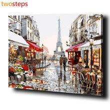 TwoSteps Paris Street DIY Numérique Toile Peinture À L'huile By Numéros Photos Coloration By Numéros Grande Peinture Acrylique By Nombre Kits
