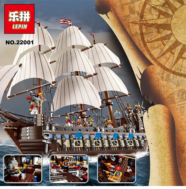 LEPIN 22001 Pirate Ship Imperial warships Model Building Block Briks Toys Gift 1717pcs Compatible legoed 10210 lepin 22001 imperial warships 16006 black pearl ship model building blocks for children pirates series toys clone 10210 4184