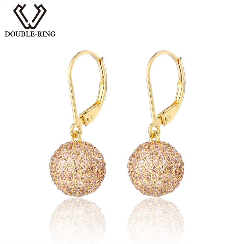 DOUBLE-R Brand New Jewelry Earrings for Women Hot Sale Yellow Gold Plated 925 Sterling Silver Drop Earrings CASE04266SC-2