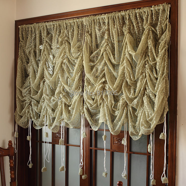Hot Selling Korean Rustic Lace Curtains Designer Adjustable Balloon Sheer Curtains Elegant