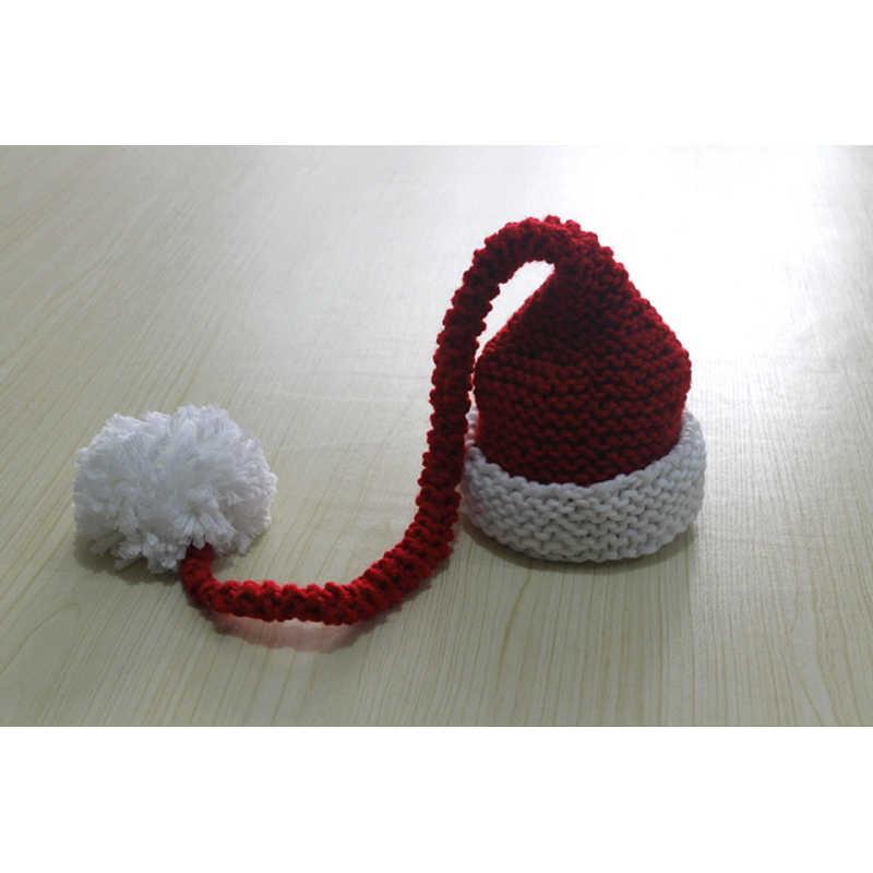 Noworodek czapka zimowa z dzianiny czerwony i biały czapka świąteczna dla dzieci długi warkocz czapka szydełkowa dla niemowląt kapelusz dla św. Mikołaja fotografia rekwizyty