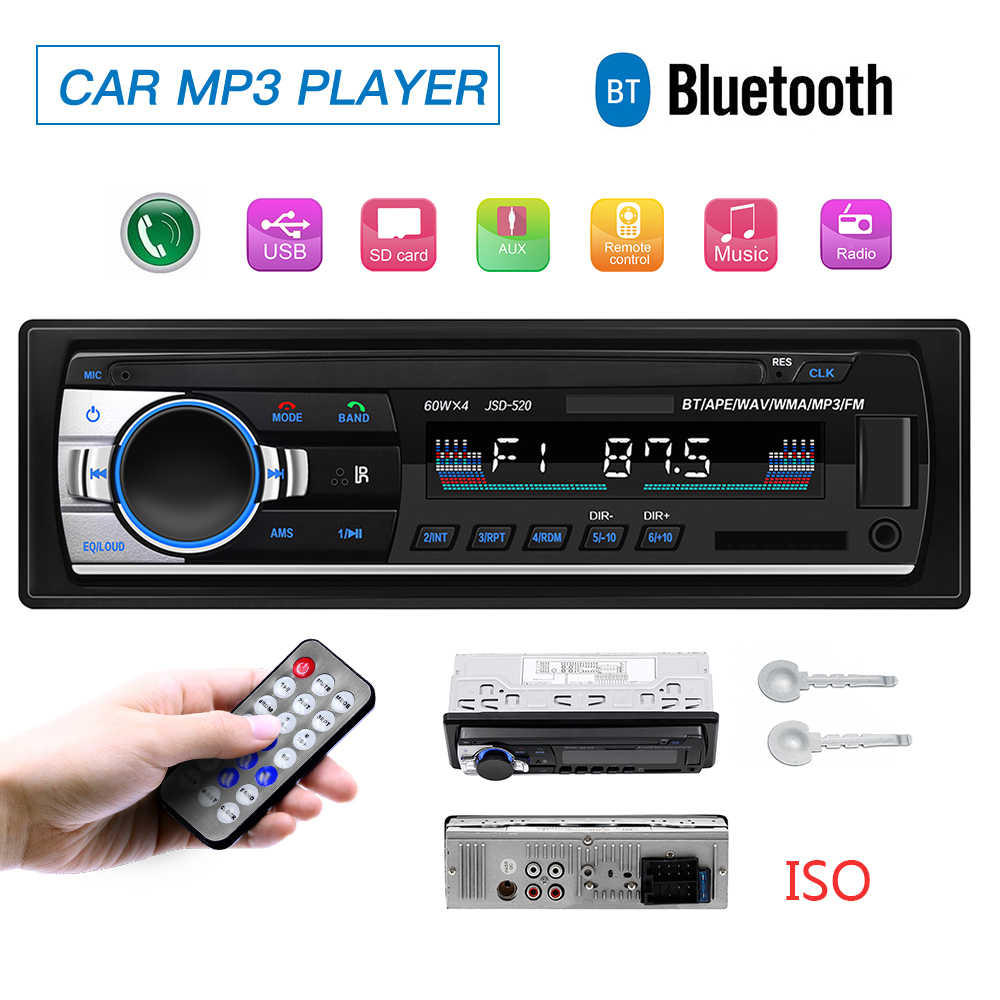 Autoradio Bluetooth USB 12V coche Radio coche estéreo receptor FM Aux TF entrada SD Audio jsd 520 en dash 1 din MP3 reproductor Multimedia