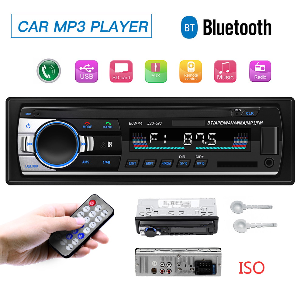 Autoradio USB Bluetooth 12V Car Radio coche Stereo Receiver FM Aux TF Input SD Audio jsd 520 In dash 1 din MP3 Multimedia Player image
