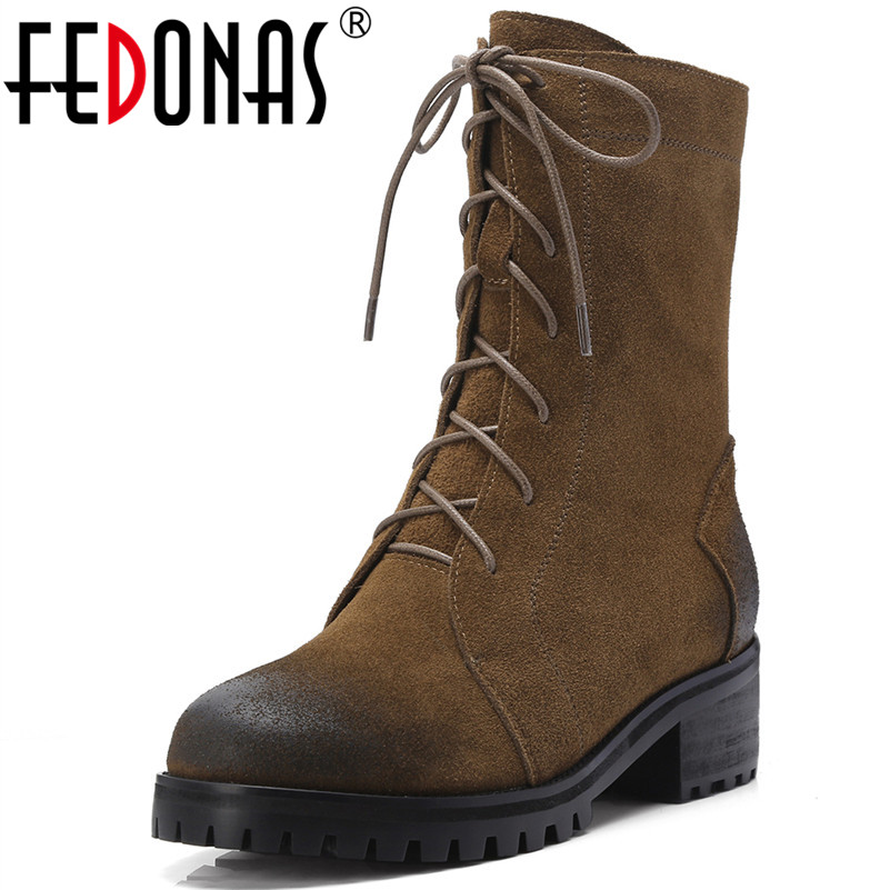 цена на FEDONAS 1Fashion Women Ankle Boots Cow Suede Autumn Winter Warm Square Heels Shoes Woman Cross-tied Round Toe Motorcycle Boots