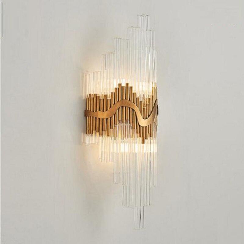 Design di lusso lampada da parete in vetro oro applique da parete sconce Dia25 * H60cm lustre illuminazione camera da letto