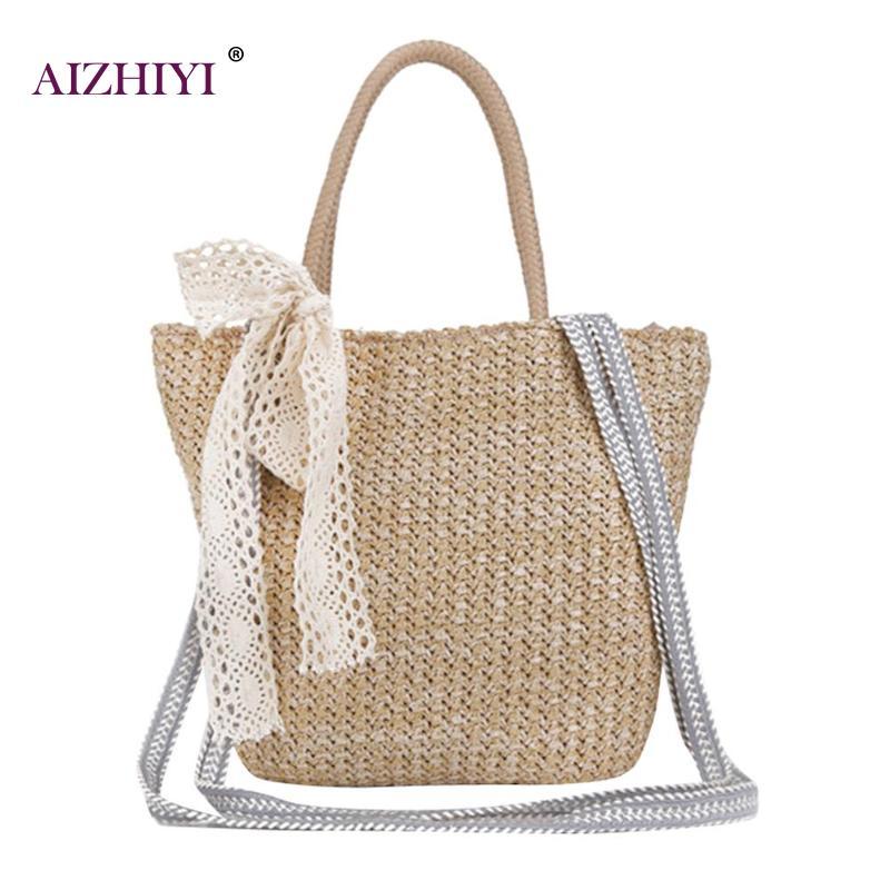 d047e99a64f4 Винтажная женская Соломенная мессенджер для девочек, сумка, Пляжная  дорожная простая сумка, сумки через