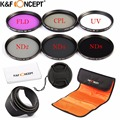 K&F CONCEPT 58mm ND2 ND4 ND8 UV CPL FLD Lens Filter Kit for DSLR Cameras for Canon 550D 60D 70D 650D 450D for Nikon for Sony