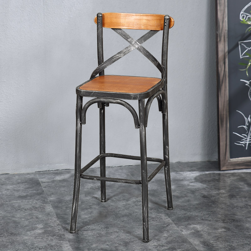 Louis Fashion European Style Bar Chairs Iron Wood Chair Simple Modern Stool Desk High Retro In From Furniture On