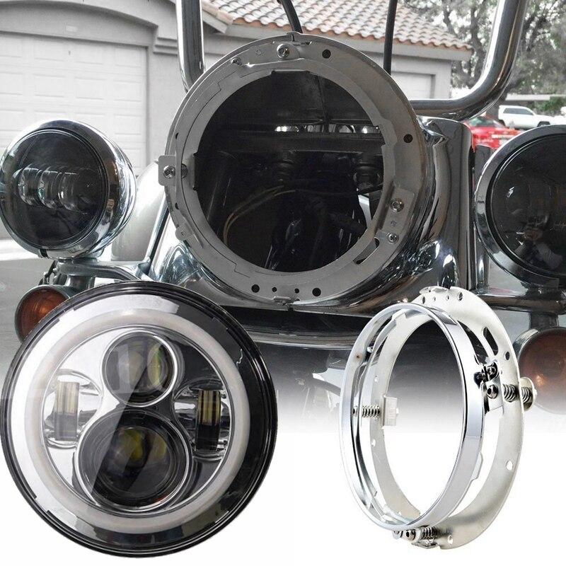 7 Inch <font><b>Led</b></font> <font><b>Headlight</b></font> With Silver <font><b>Round</b></font> Mounting Bracket Ring for <font><b>Motorcycle</b></font>