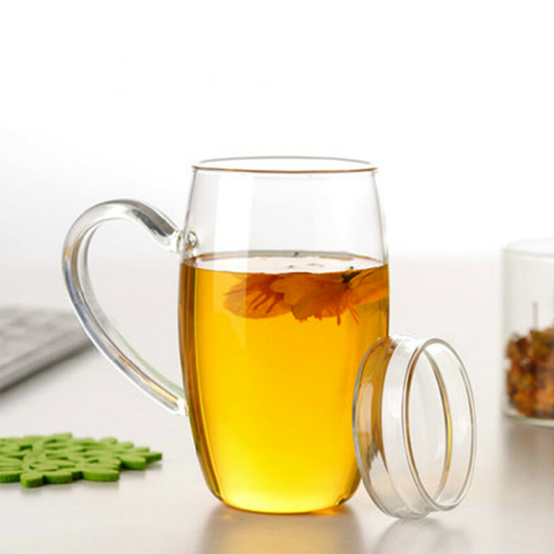 700ml Creative Transparent Glass Cup Tea Mug Transparent Water Cup Single Layer With Cover Large Capacity With handle Кубок