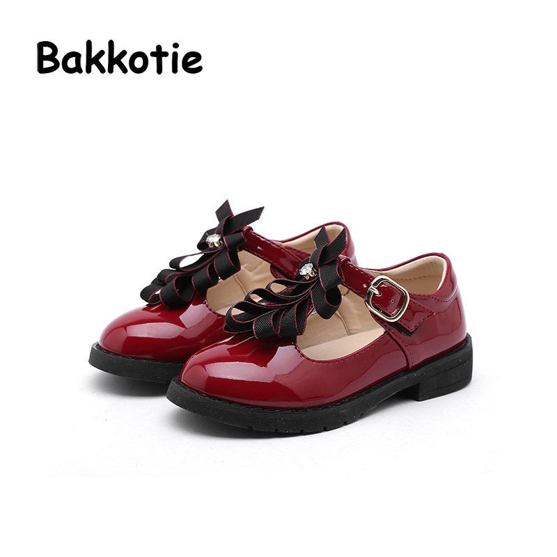 Bakkotie 2018 Spring New Fashion Baby Girl Patent Leather Bow Red Flat Child Rhinestone Princess Party Shoe kid Brand Mary Jane