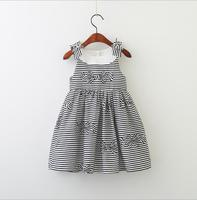 New Summer Baby Girls Striped Bow Dress Princess Kids Cotton Cute Clothing 6 Pieces Lot Wholesale