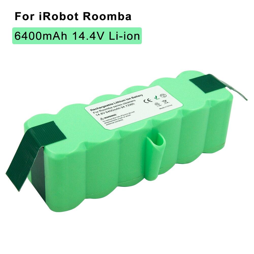 14.8 v 6.4Ah Li-Ion Batteria Ricaricabile per IRobot Roomba Aspirapolvere 500 510 530 570 600 660 700 760 770 780 790 800 900