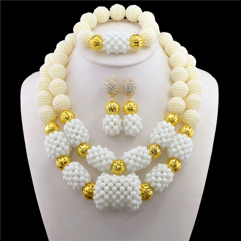 Nigéria étoile mode mariage nigérian perles africaines ensemble de bijoux en cristal blanc collier Bracelet boucles d'oreilles ensemble de bijoux CPS-272