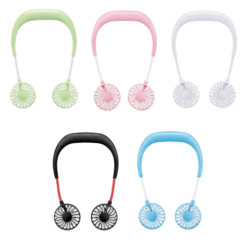 Portable Neck Band Hanging Dual Fans USB Rechargeable Hands-free LED Air Cooler