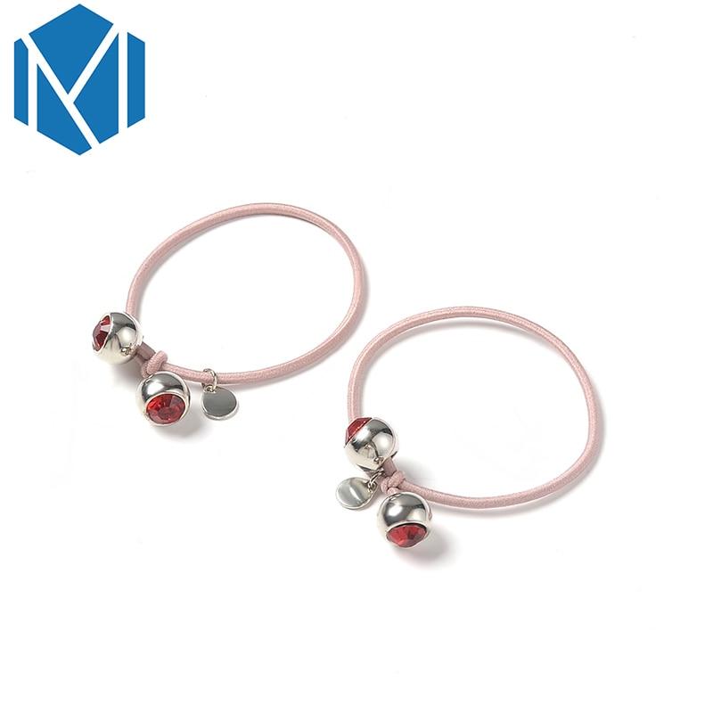 M MISM 2PCS Rhinestone Elastic Hair Band Hair Accessories Rubber Band Tie Gum Scrunchy For Women Girls