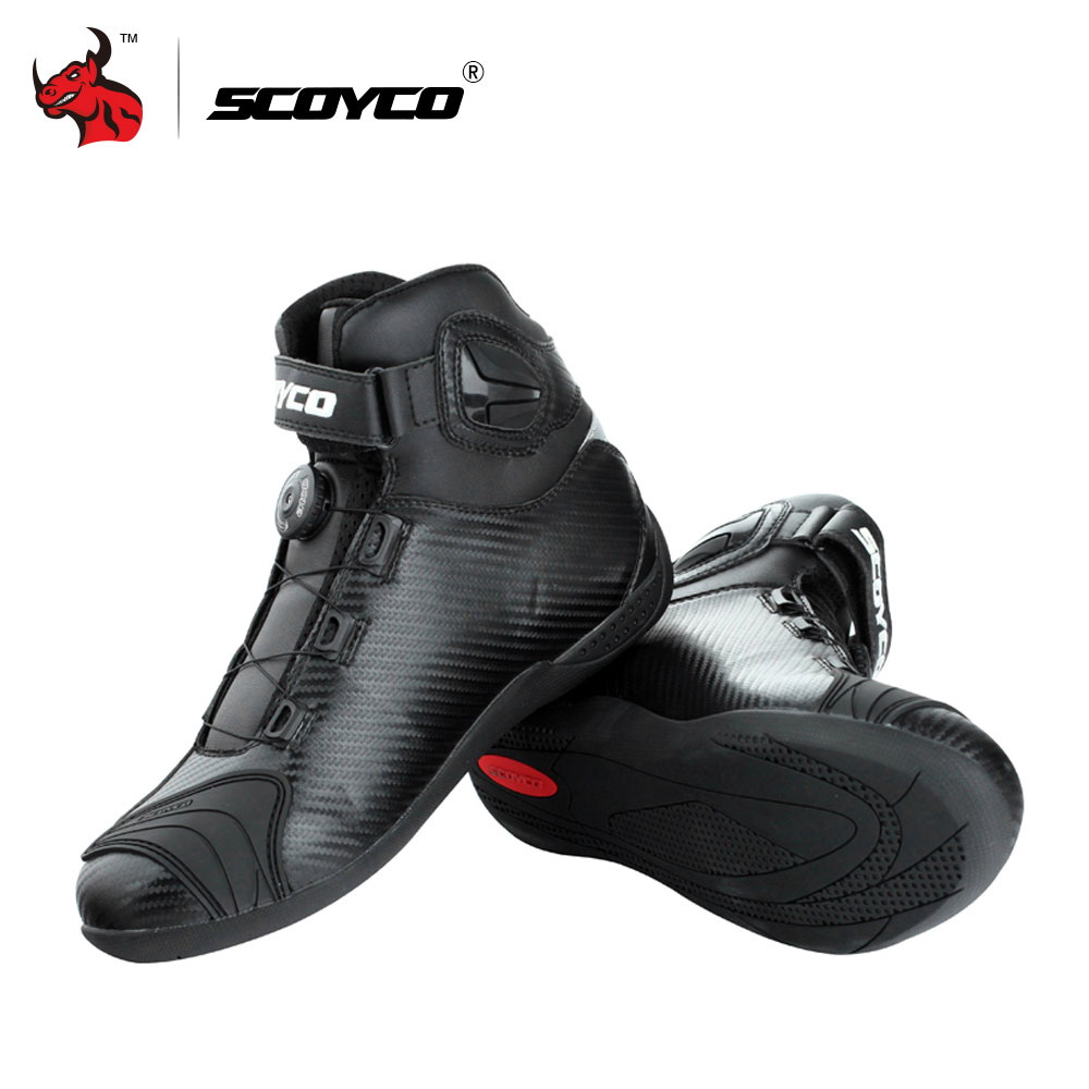 SCOYCO Motorcycle Boots Leather Motocross Boots Men Moto Riding Boots Shoes With PP Shell Protection ATOP Buckles motorcycle bikes battery box black pp shell