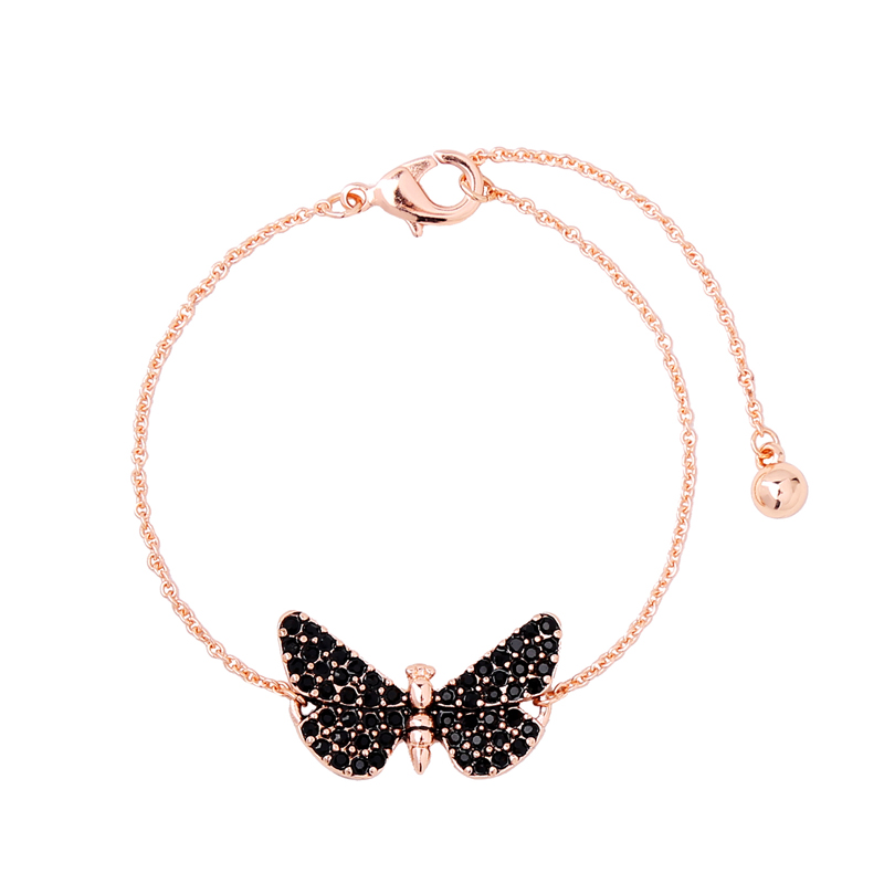 Rose Gold/Silver Color Chain Black Butterfly Bracelet Gift Women Jewelry Simple Insect Charm Bracelet