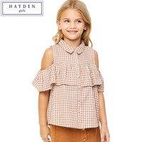HAYDEN Girls Ruffle Shirt Kids Summer Clothes 2017 European Designer Plaid Shirts For Teens Casual Cold