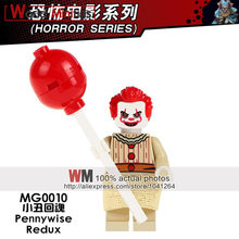 Single legoings The Clown Pennywise Redux Joker With Red Balloon Costum Adult Scary Clown Halloween Fancy Dress Building Blocks(China)