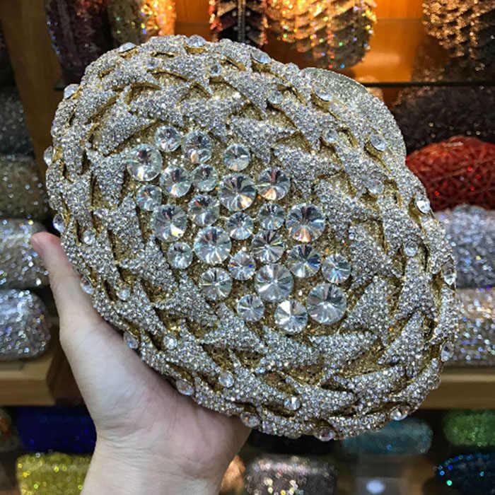 Berongga Out Perak Kristal emas/perak/hijau Wanita Evening Purse Bag Bridal Wedding Formal Dinner Logam Berlian Clutch tas