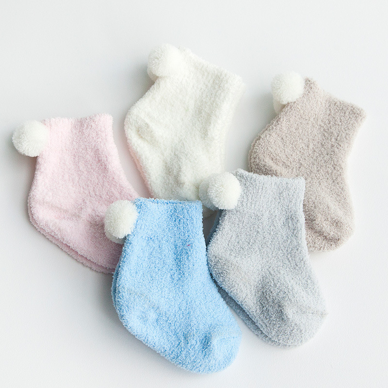 3Pairs Pack Autumn and winter thickening baby thermal socks 0 - 3 years old baby solid color coral fleece spherule kids socks