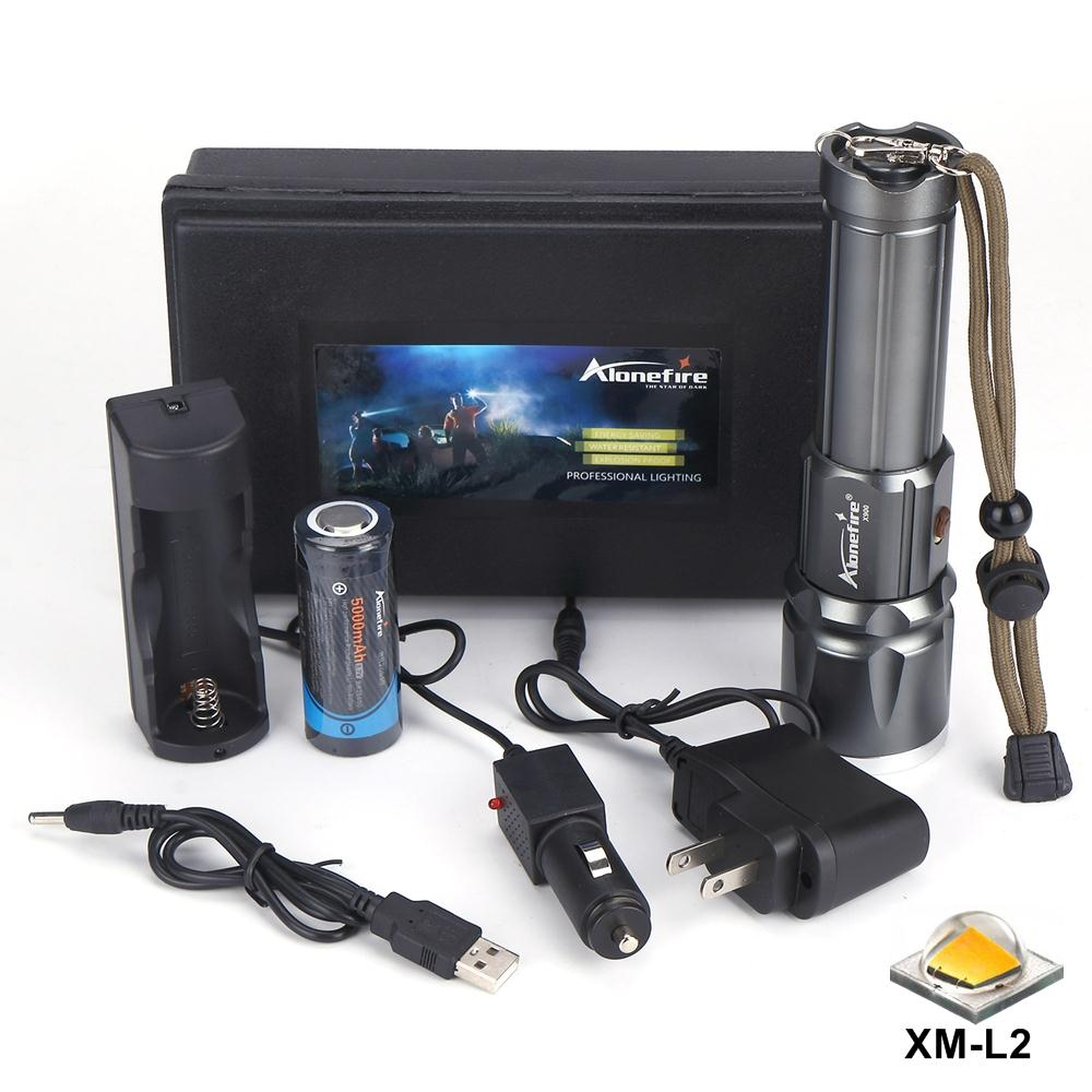 AloneFire <font><b>X900</b></font> CREE XM L2 T6 Aluminum Outdoor LED Flashlight Torch Zoom Zaklamp lantern For 26650 or 18650 Rechargeable Battery image