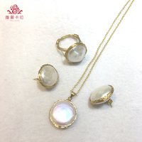 Newest Design! Fashionable Flatround Shaped Freshwater Pearl Set(Metal Mixed With 14G Light Yellow Gold Color Item).