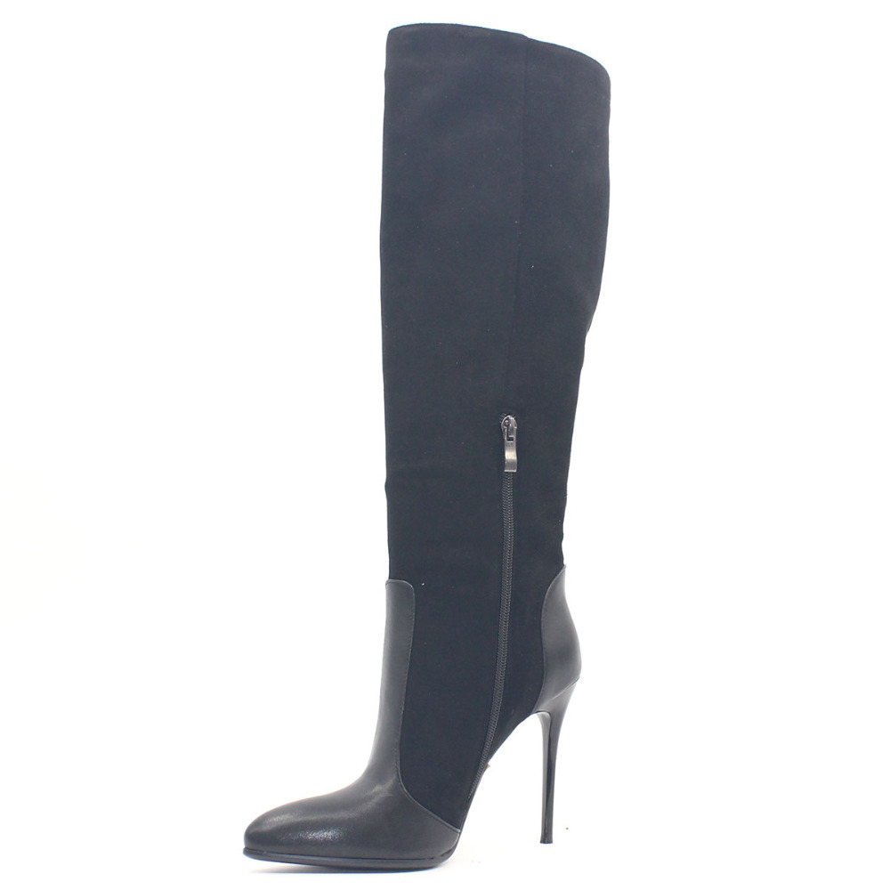 Pointed Toe Fetish Super High Heel Women Boots Sexy Thin Heel Winter Black Suede Over the Knee Shoe Metal Decoration Fleeces PU стоимость