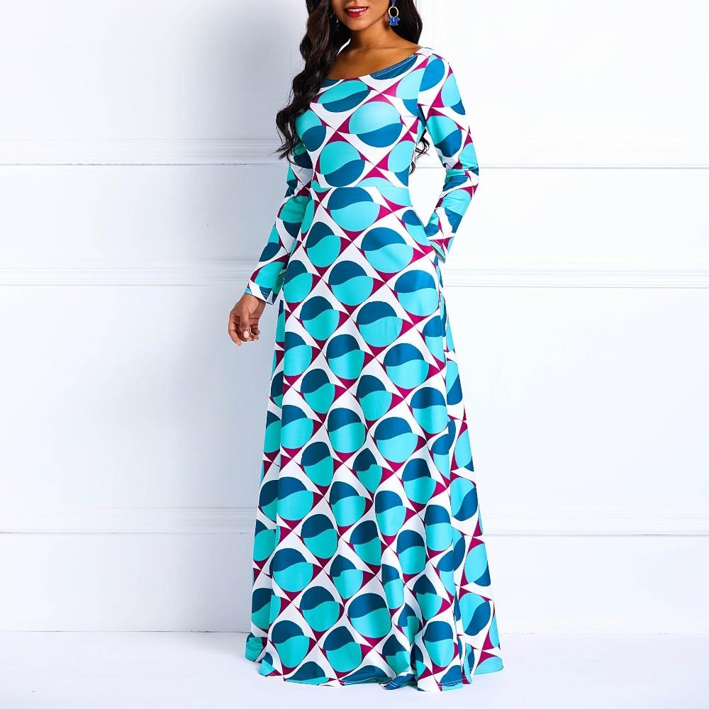Clocolor Women Maxi Dress Winter Vintage Elegant Afircan Long Sleeve Blue Print Female Fashion Plus Size XXXL Long Dress Casual