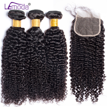 LeModa Afro Kinky Curly Mongolian Hair Weave Human Hair 3/4 Bundles With Closure Remy Hair Extensions Closure With Bundles