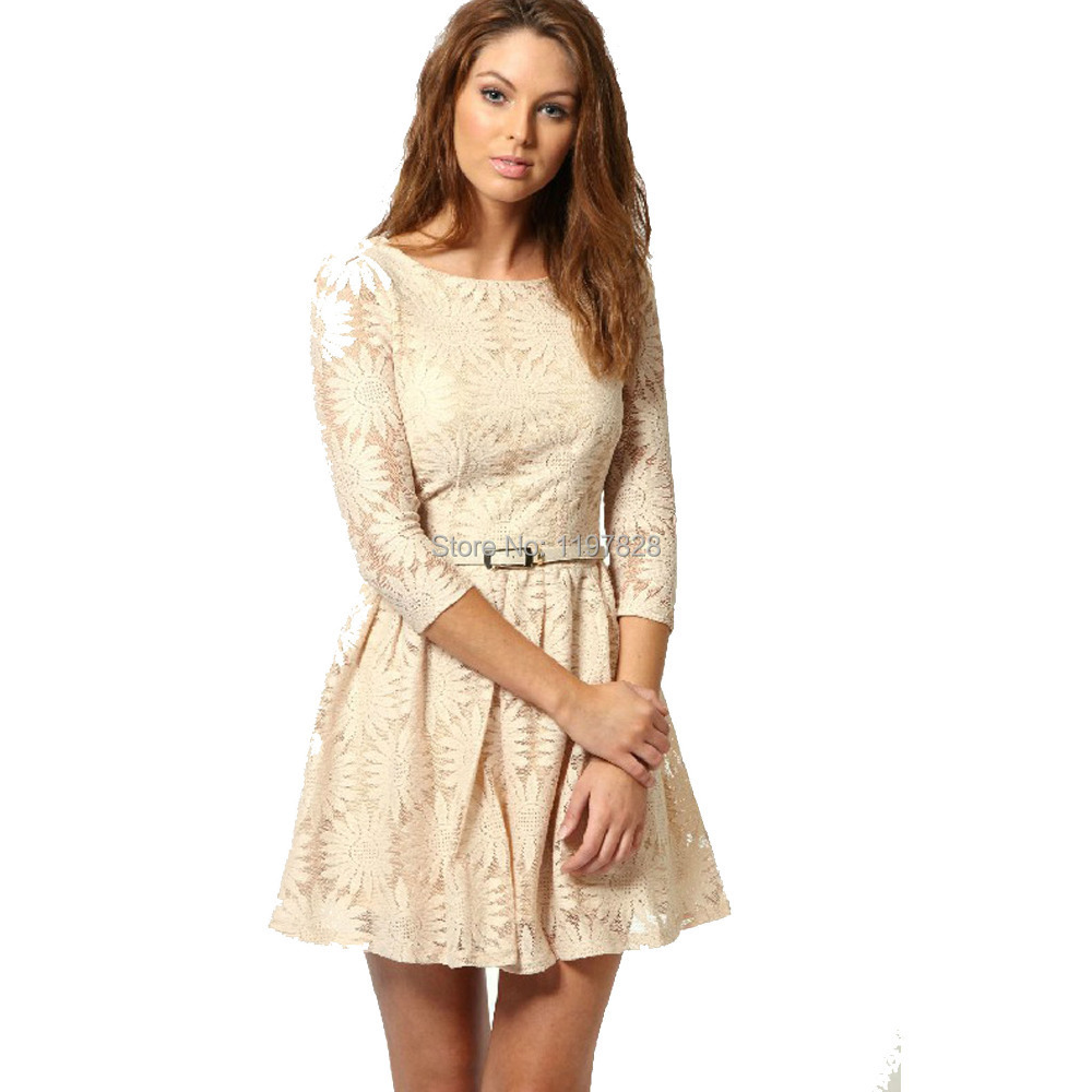 Aliexpress.com : Buy New Elegant Women Casual Lace Dress Floral ...
