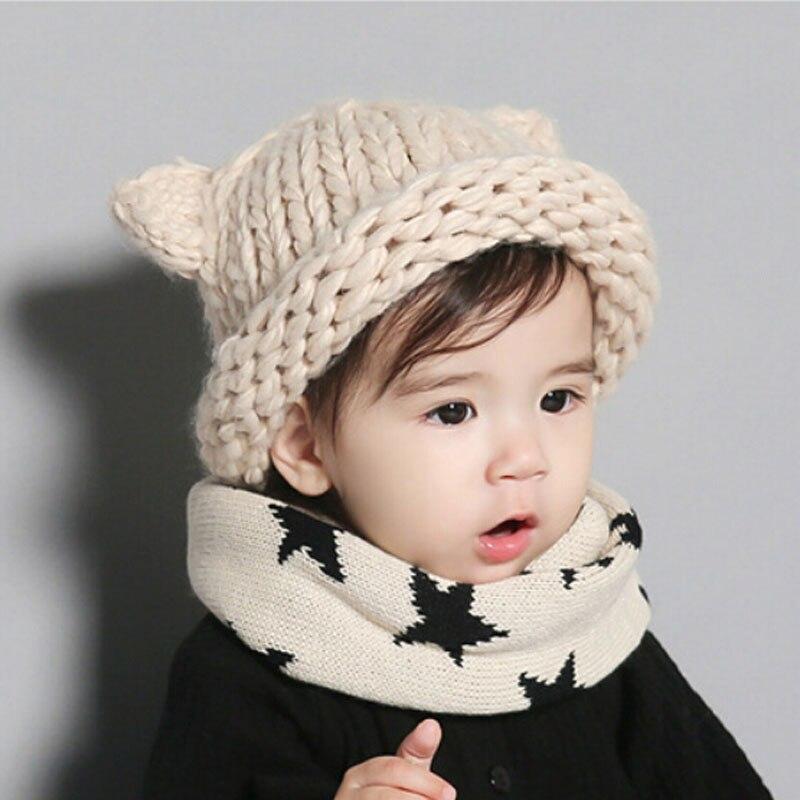Handmade Knitted Cute Baby Girl Boy Winter Hat Cat Ears Lovely ...