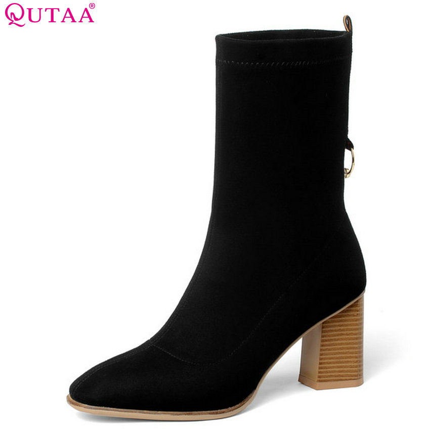 QUTAA 2019 Cow Suede Woman Ankle Boots Fashion Zipper Platform Square High Heel Winter Shoes Women Motorcycle Boots Size 34-39 morazora ankle boots for women fashion shoes woman cow suede leather boots solid zipper platform womens boots size 34 40