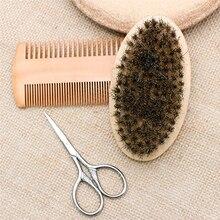 3Pcs/set Mens Beard Brush Kit Set Boar Bristle Shaving Comb Mustache Scissor Male Facial Claning Tool