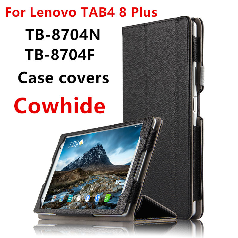Case Cowhide For Lenovo Tab 4 8 Plus Protective Smart Cover Genuine Leather Tablet tab48plus 8 TB-8704F N Cases Protector Sleev case cowhide for lenovo ideapad miix 700 genuine protective smart cover leather tablet for miix4 pro miix 710 protector 12cover