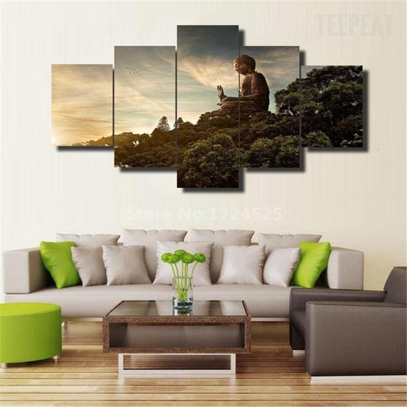 HD Druck 5 Stcke Kunst Abstrakte Buddha Malerei Auf Leinwand Bild Fr Wohnzimmer Dekoration