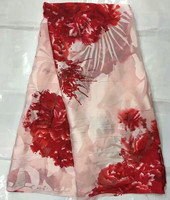 Koshibo Fabric In Pink With Big Red Flowers Design 5yards Pcs Light Silk Fabric For Sewing
