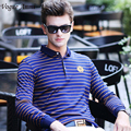 Vogue Anmi.Classic Cotton Long Sleeve Men Brand Stripe Polo Shirt Camisa Top Quality Soft Breathable Blue and Red Male Polos