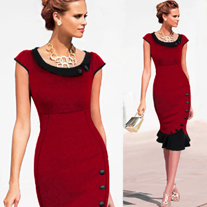 Plus size Patchwork Dress sleeveless Women Elegant office Work ...