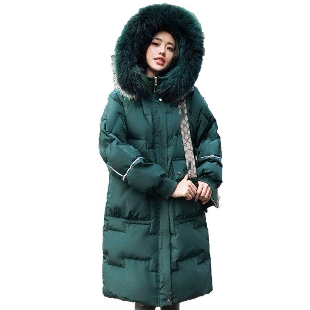 Winter Jacket Women White Duck   Down     Coat   Big Real Raccon Fur Collar Hooded Long Parkas Female Slim Casual Warm Snow Outwear Y05